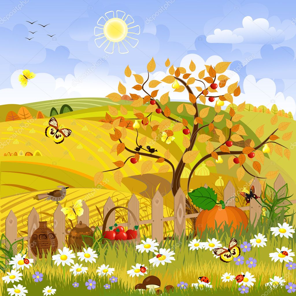 Rural landscape autumn tree
