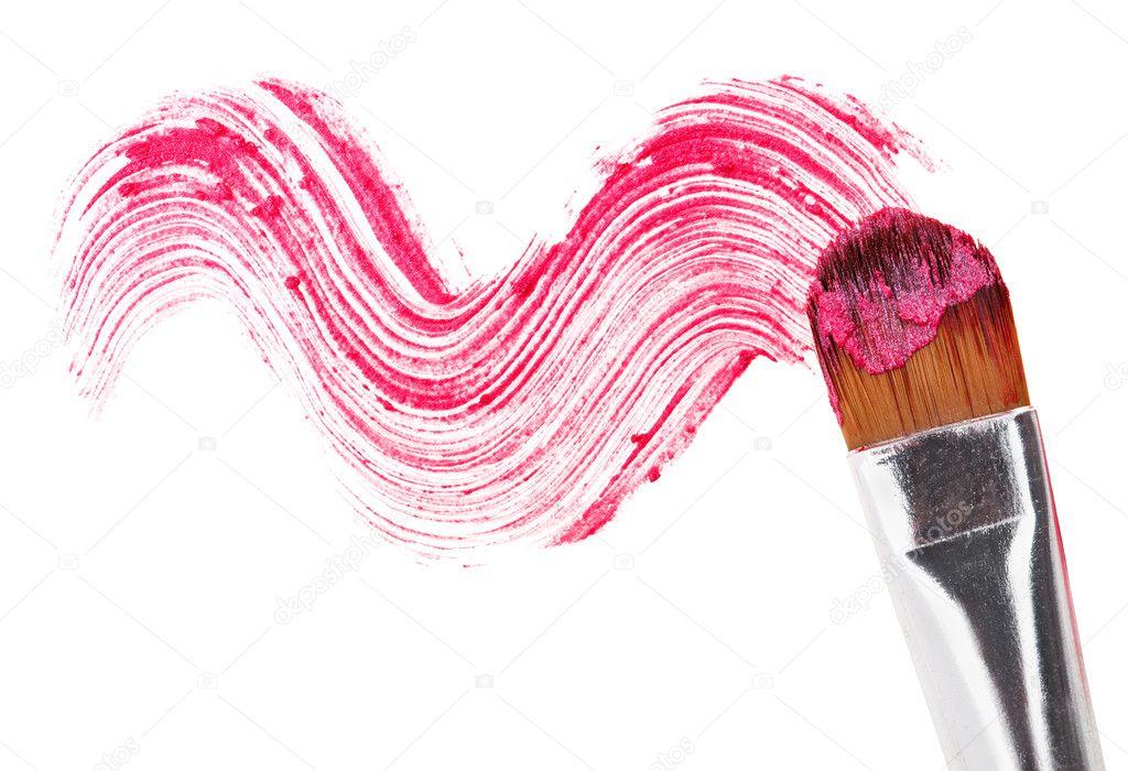 rosa lippenstift strich beispiel mit make up pinsel. Black Bedroom Furniture Sets. Home Design Ideas