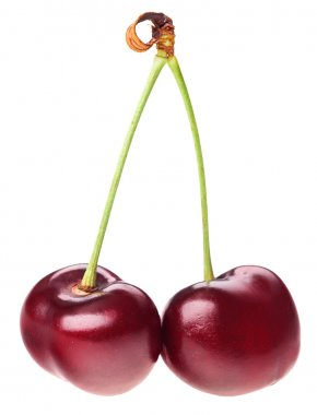 Pair of red ripe cherry fruit (berry) with green stem isolated o