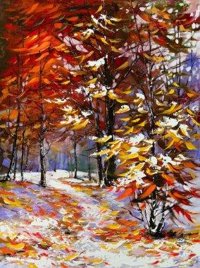 "Картина, постер, плакат, фотообои ""Дорога в осеннем лесу"", артикул 6413470"