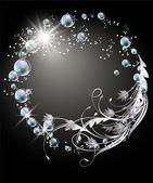 Pozadí s koulí, stříbrné květiny, hvězdy a bubliny