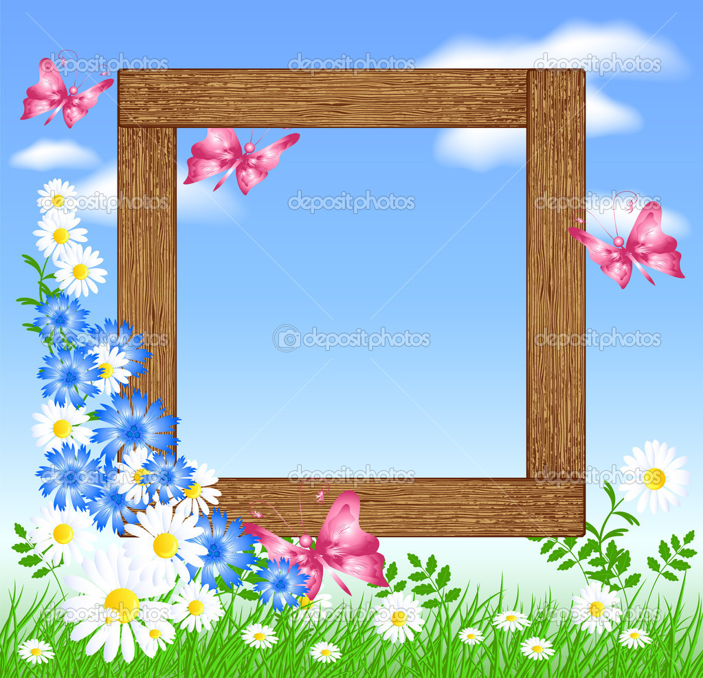 Wooden photo frames with flowers and butterfly — Stock Vector ...