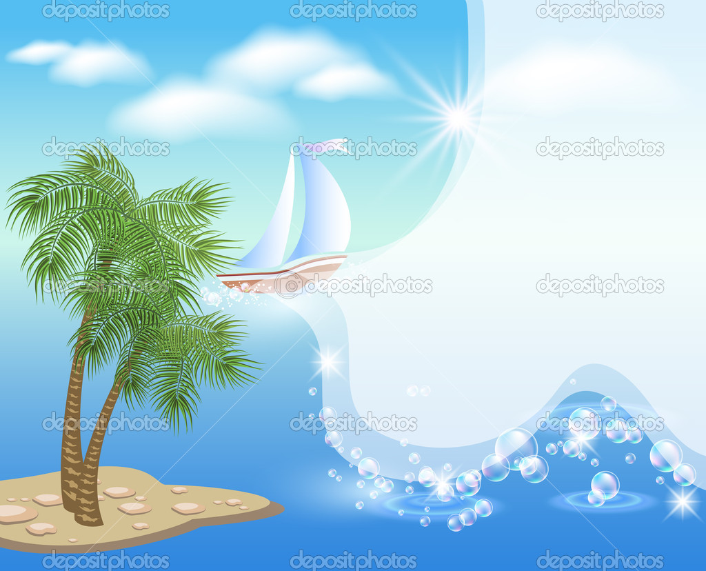 Palm tree and sailboat