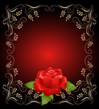 Golden frame wth rose