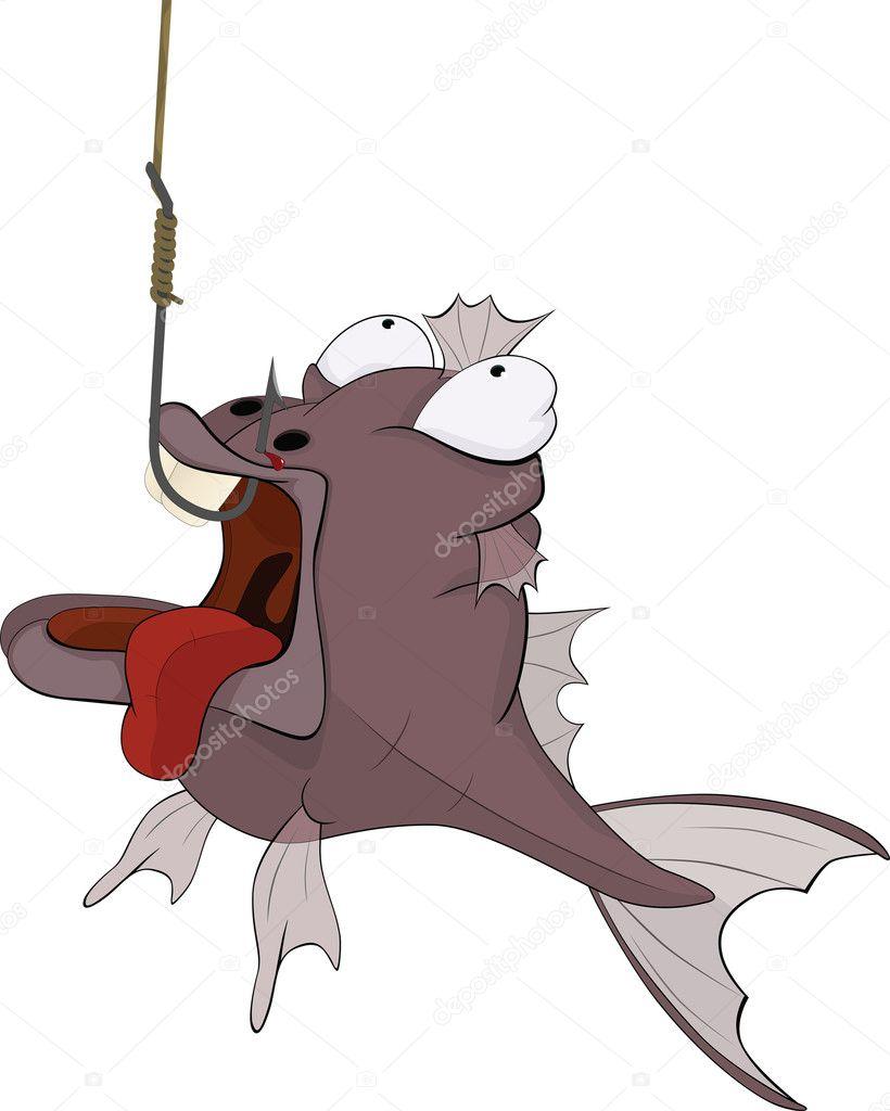 Pesca sportiva e pesci predatori cartone animato