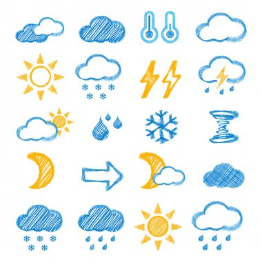 Weather icons doodles hand drawn set on white clip art vector