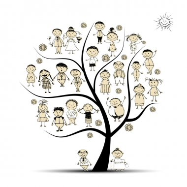 Family tree, relatives, sketch