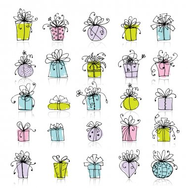 25 gift box icons for your design clip art vector