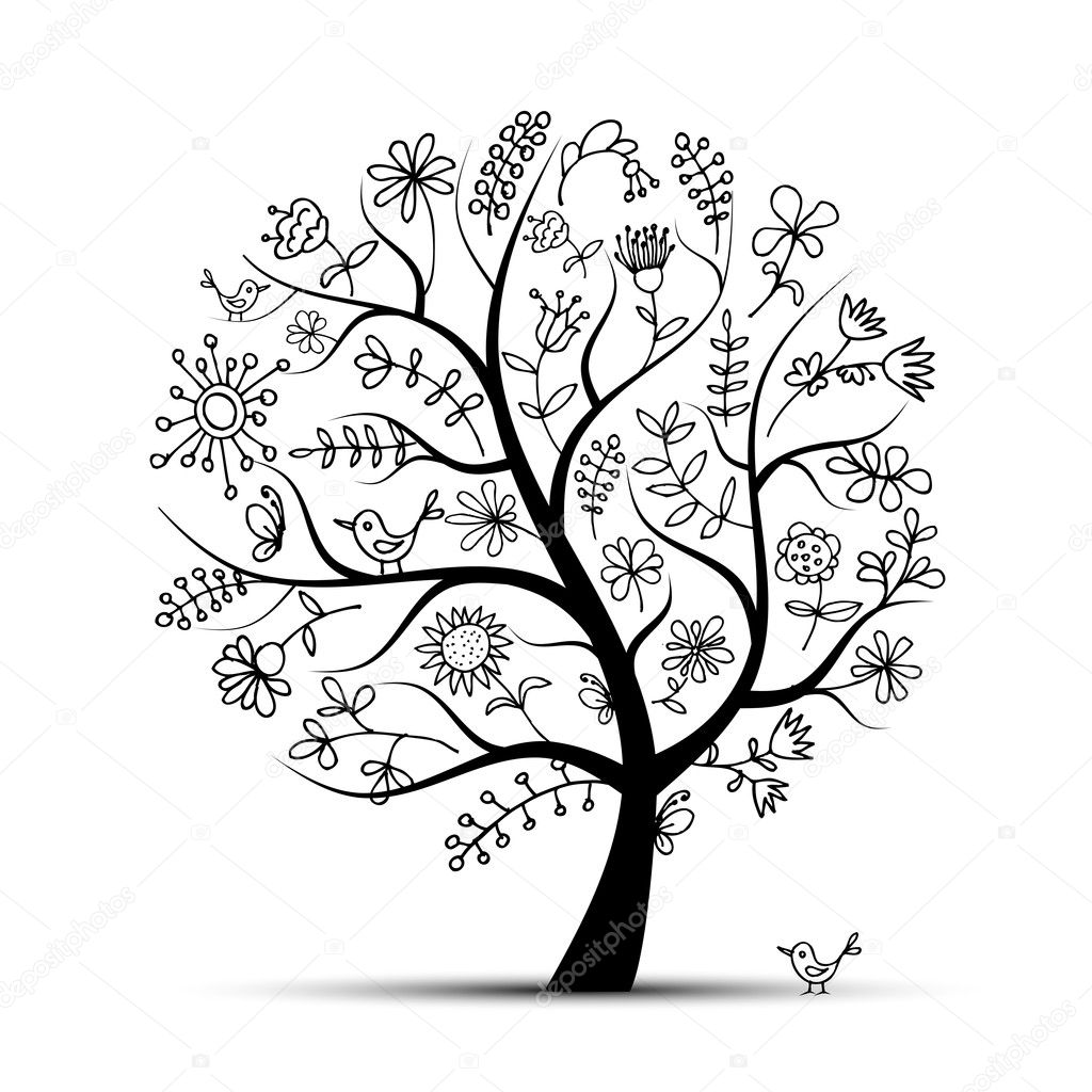 Art floral tree black for your design