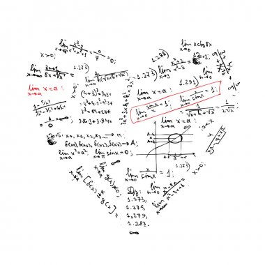 Heart shape with math formulas for your design clip art vector