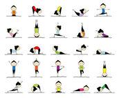 Fotografia donna pratica dello yoga, 25 pose per il vostro disegno