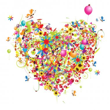 Happy holiday, funny heart shape with ballons clip art vector
