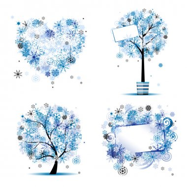 Winter style - tree, frames, heart for your design