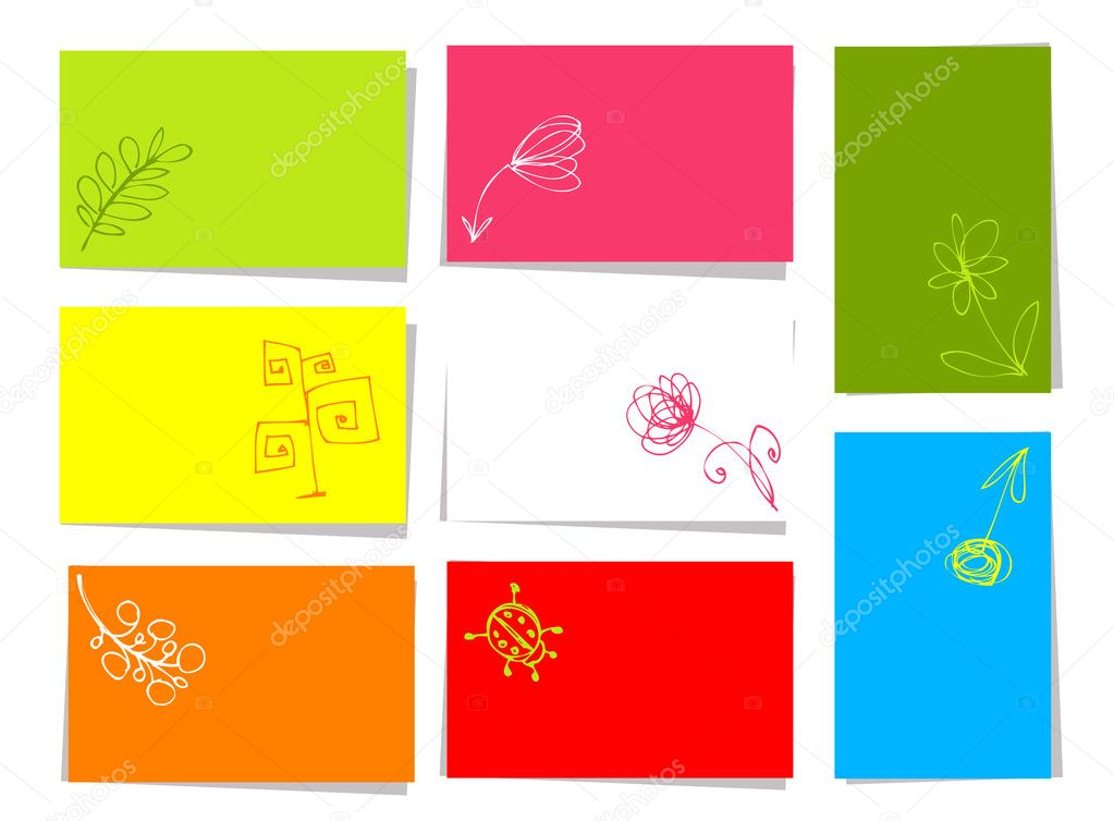Set of floral cards for your design with place for your text