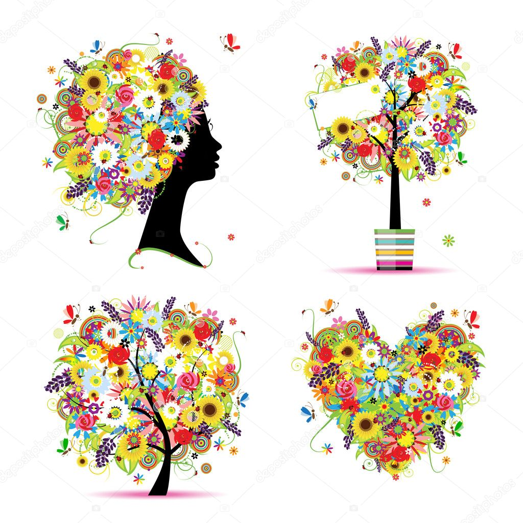 Summer style - tree, frame, bouquet, female head for your design