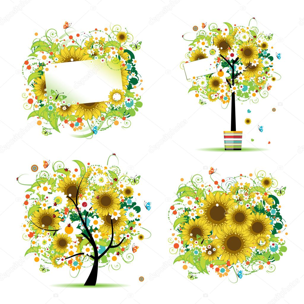 Summer style with sunflowers - tree, frames, bouquet for your design