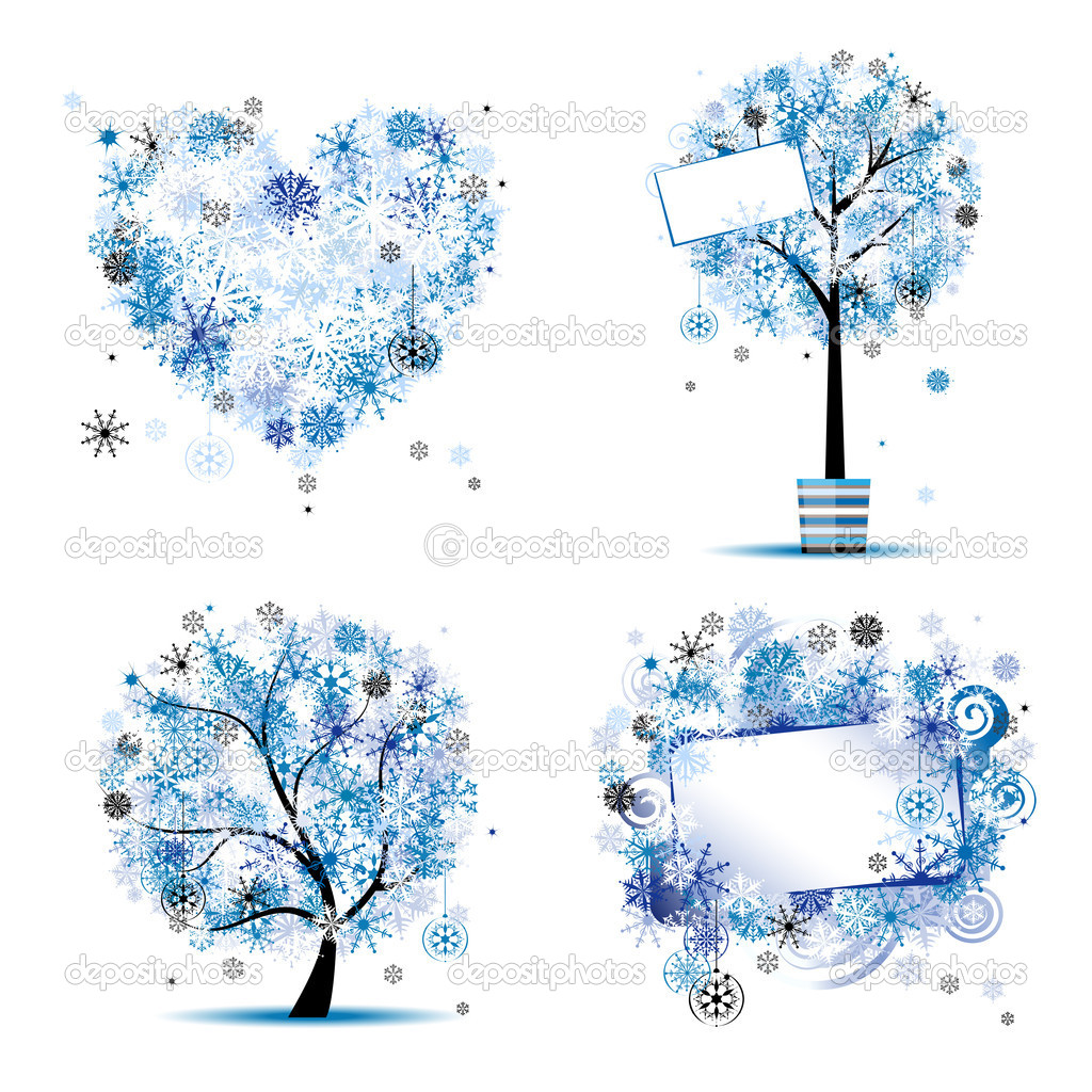 winter style tree frames heart for your design vector by kudryashka