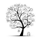 Einkaufstaschen auf Baum für Ihr design