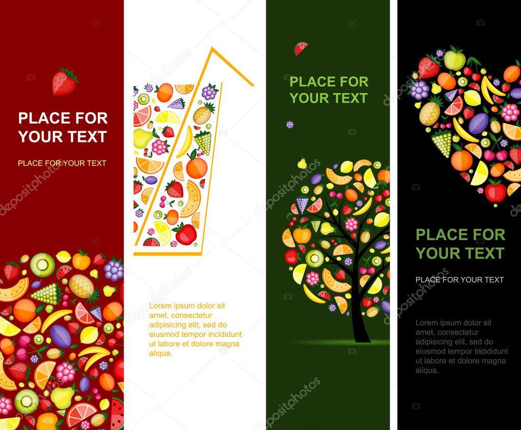 banderas de frutas verticales para su diseo u ilustracin de stock