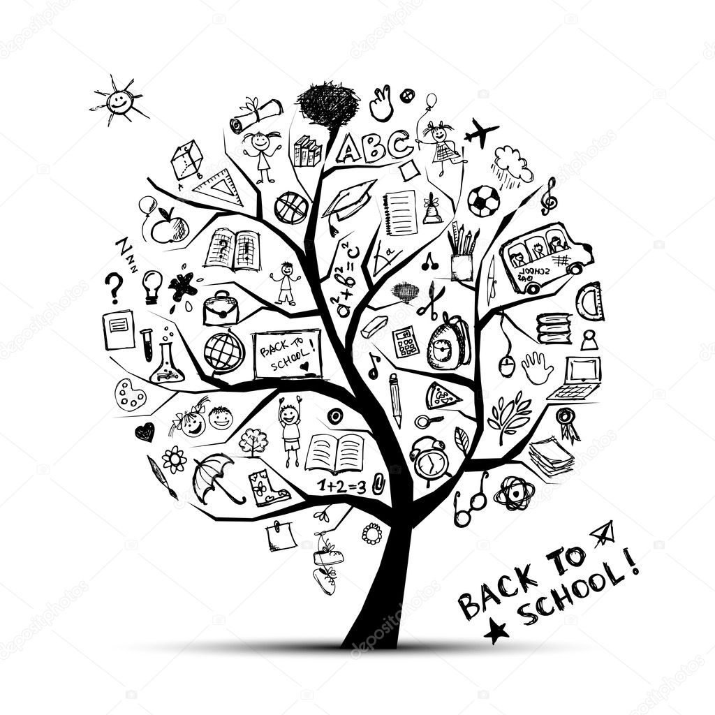 Tree of knowledge, concept of school for your design