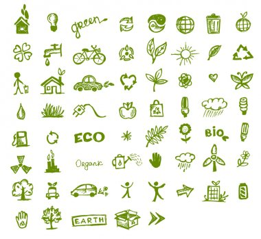 Green ecology icons for your design
