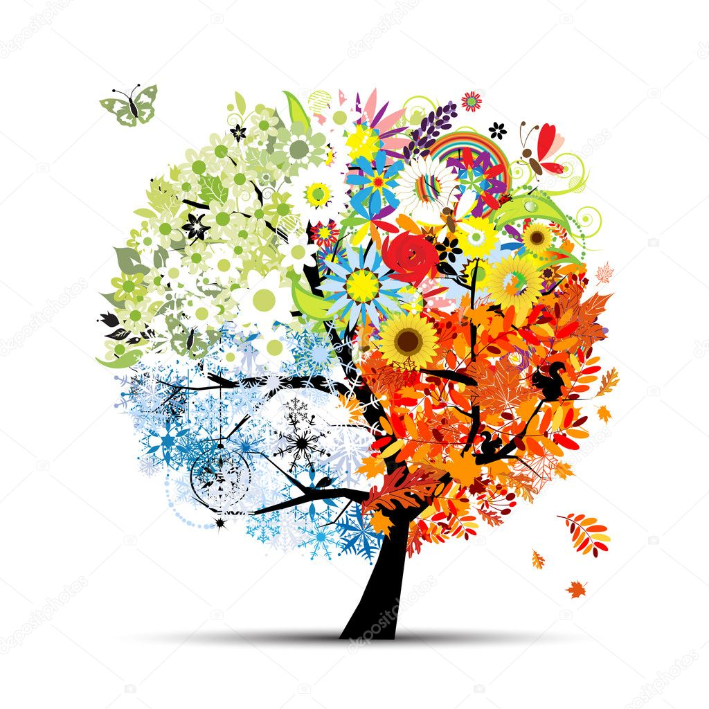 Four seasons - spring, summer, autumn, winter. Art tree beautiful for your