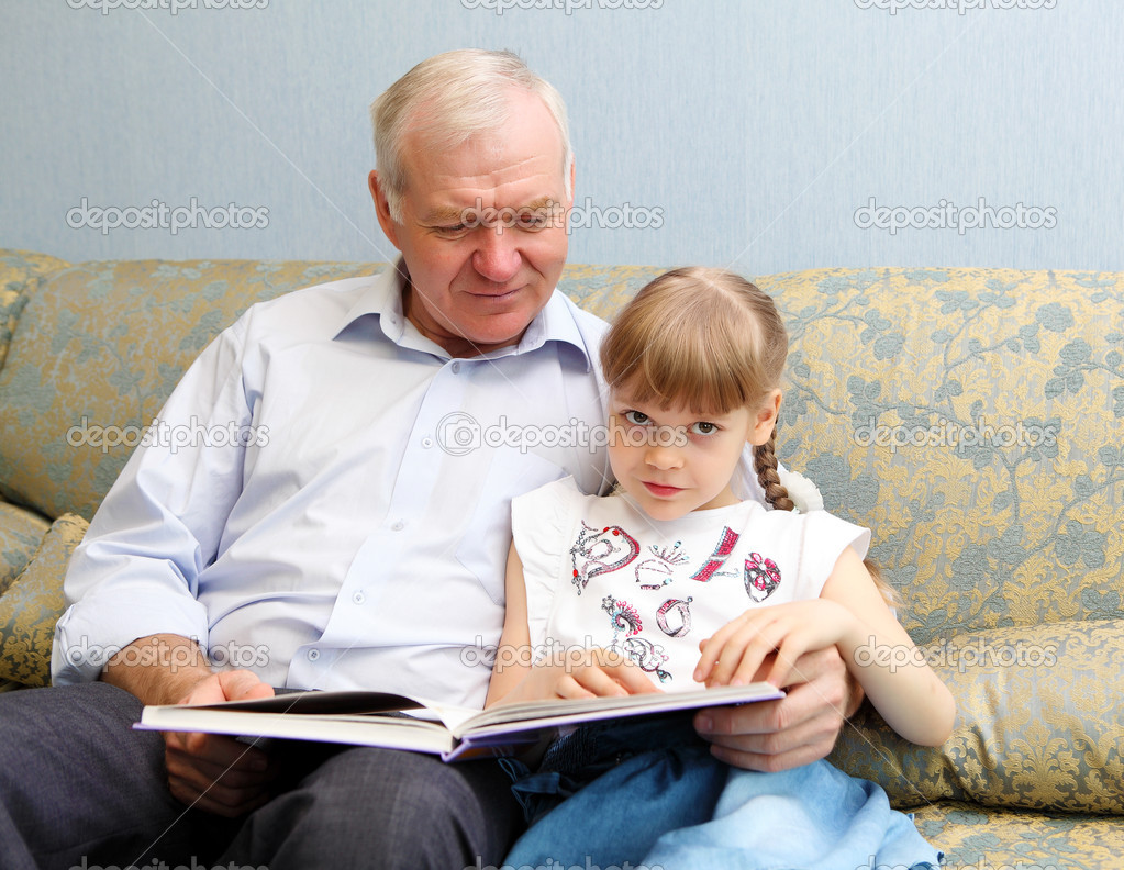 Grandpa And His Granddaughter. Stock Image - Image of