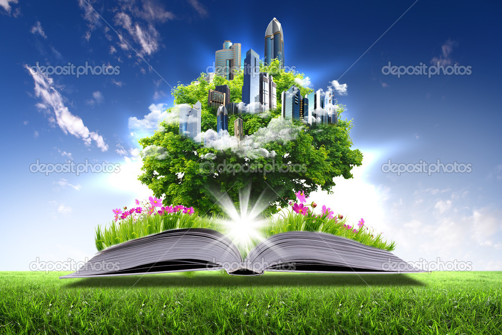 Фотообои Open book with green nature world
