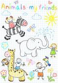 Fotografie Vektor Skizzen glückliche Kinder
