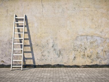 Blank dirty grunge wall with ladder stock vector