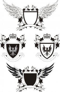 Set of vector grunge shields with eagles