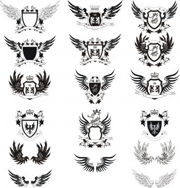 Collection of grunge vector coat of arms