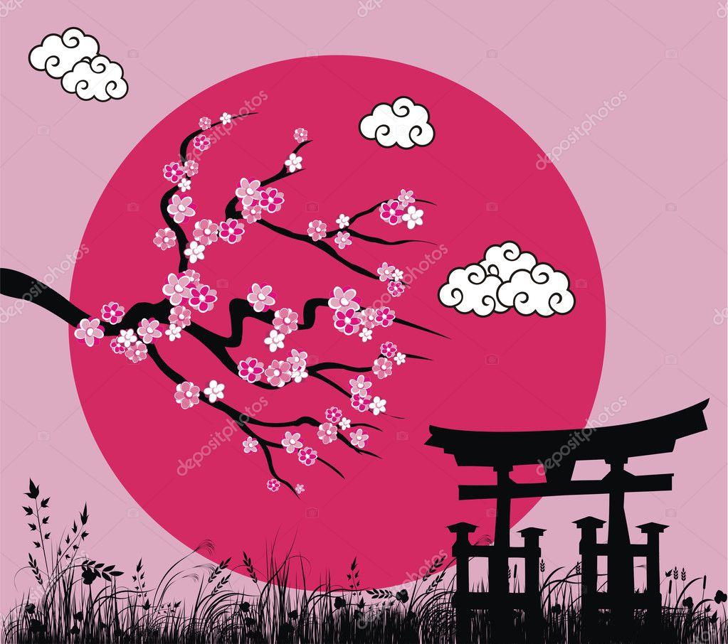 Japanese sakura blossom and tori gate -vector illustration