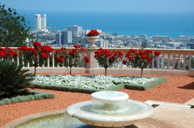 Haifa view from Bahai temple garden terrace,Israel
