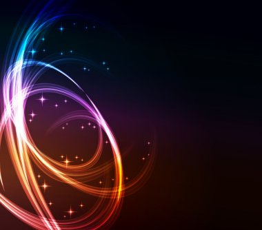 Stylized abstract background with moving glowing lines, circles and stars
