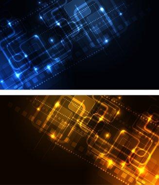 Stylized glowing backgrounds in wide-screen format