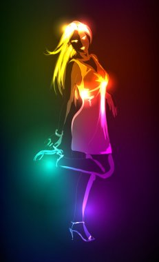 Hand-drawn fashion model from a neon. Vector illustration. A light girl.