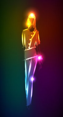 Hand-drawn fashion model from a neon.