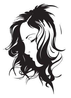 Hand-drawn fashion model. Woman's face