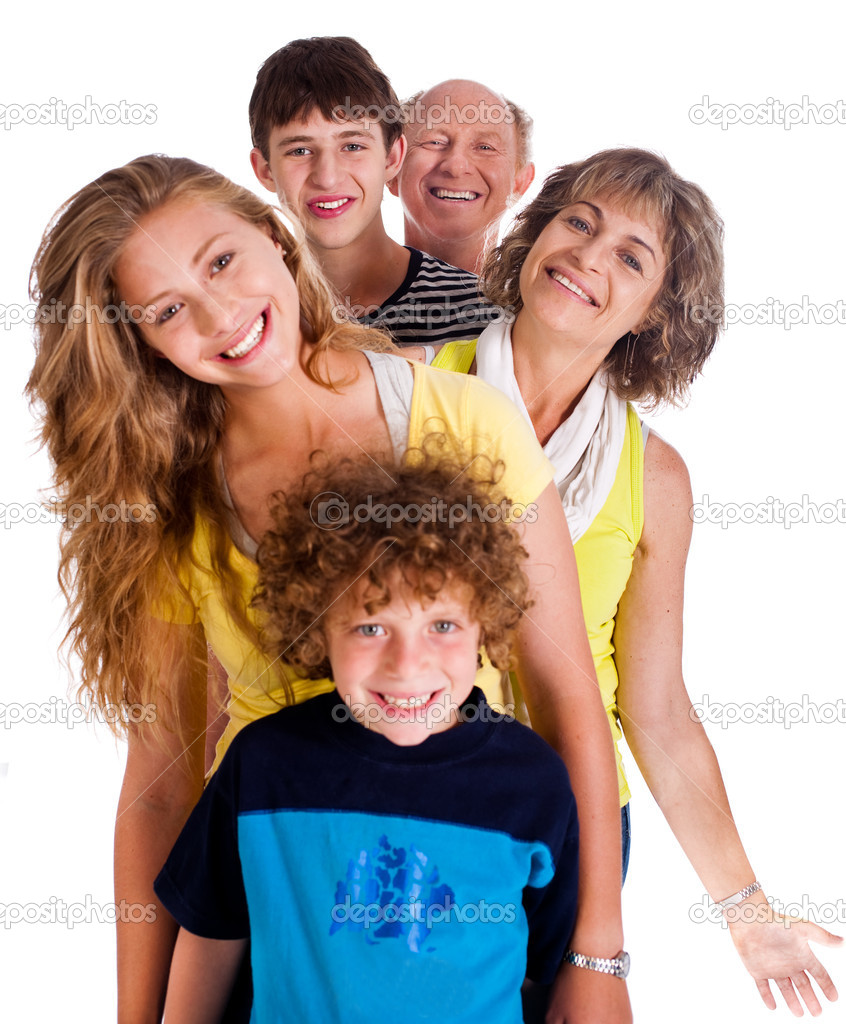 Portrait of happy family isolated on a white background.. stock vector