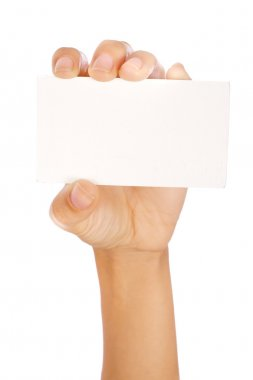 Hand holding a card isolated on white... stock vector