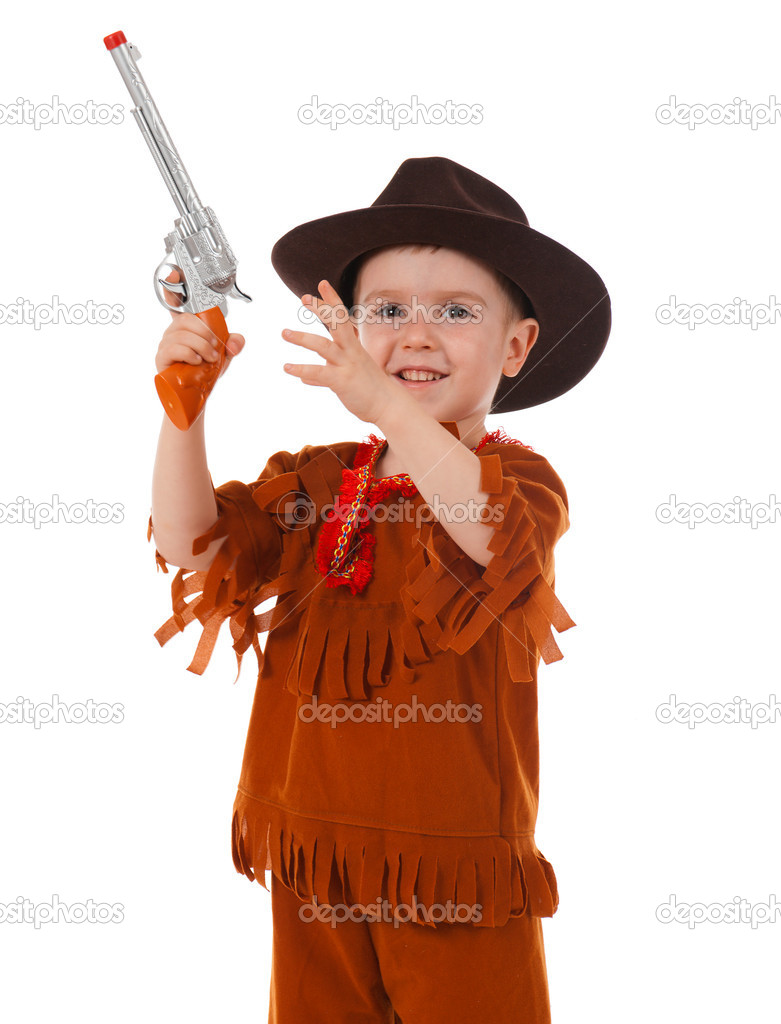 aaa8a8a4a283b Little boy wearing a cowboy hat a over white background — Photo by ...