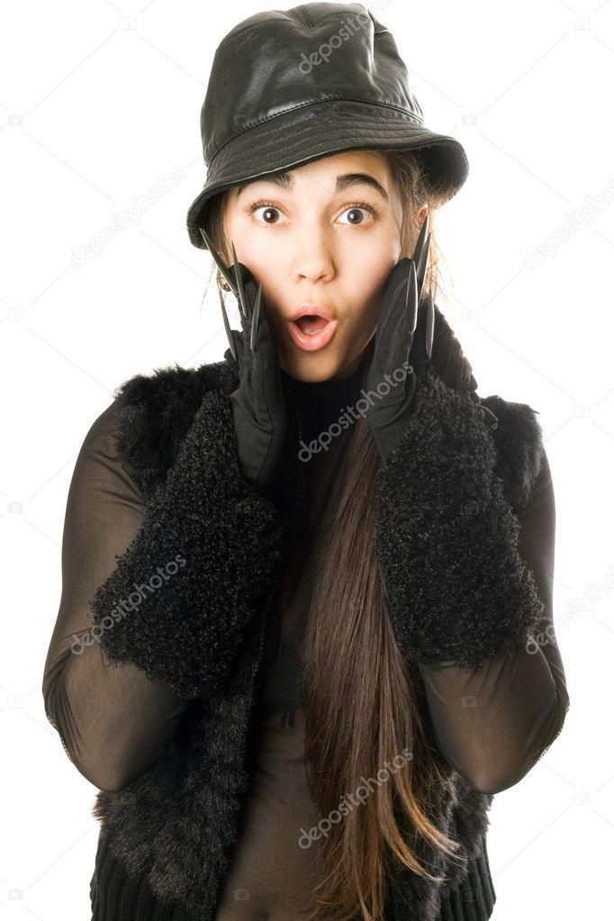 Portrét překvapení dívka v rukavice s drápy. samostatný — Fotografie od  acidgrey 3b30375191