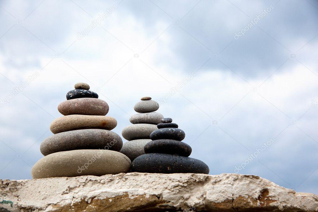 Pebble. Balanced stones on the beach