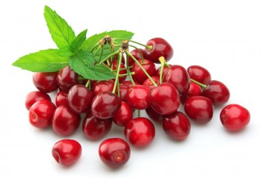 Cherry with mint leaf