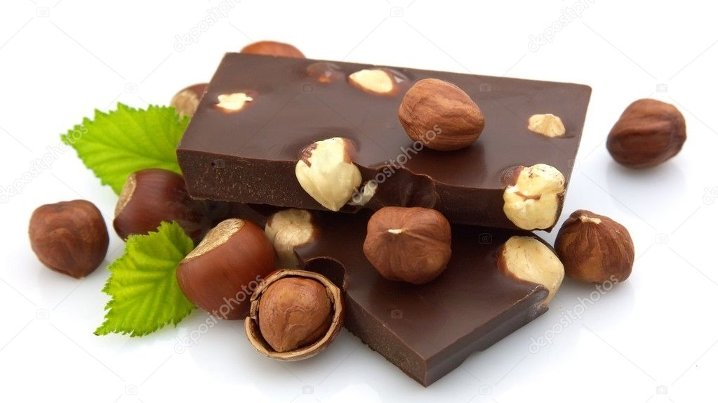 Delicious chocolate with nuts