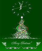 Christmas - New Year tree with clock image. Vector illustration