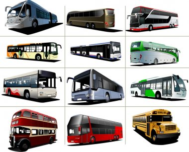 Twelve kinds of city buses. Vector illustration