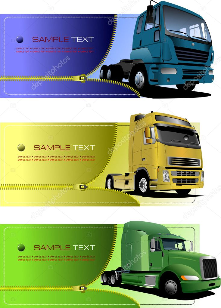 Three zipper banners with trucks. Vector illustration