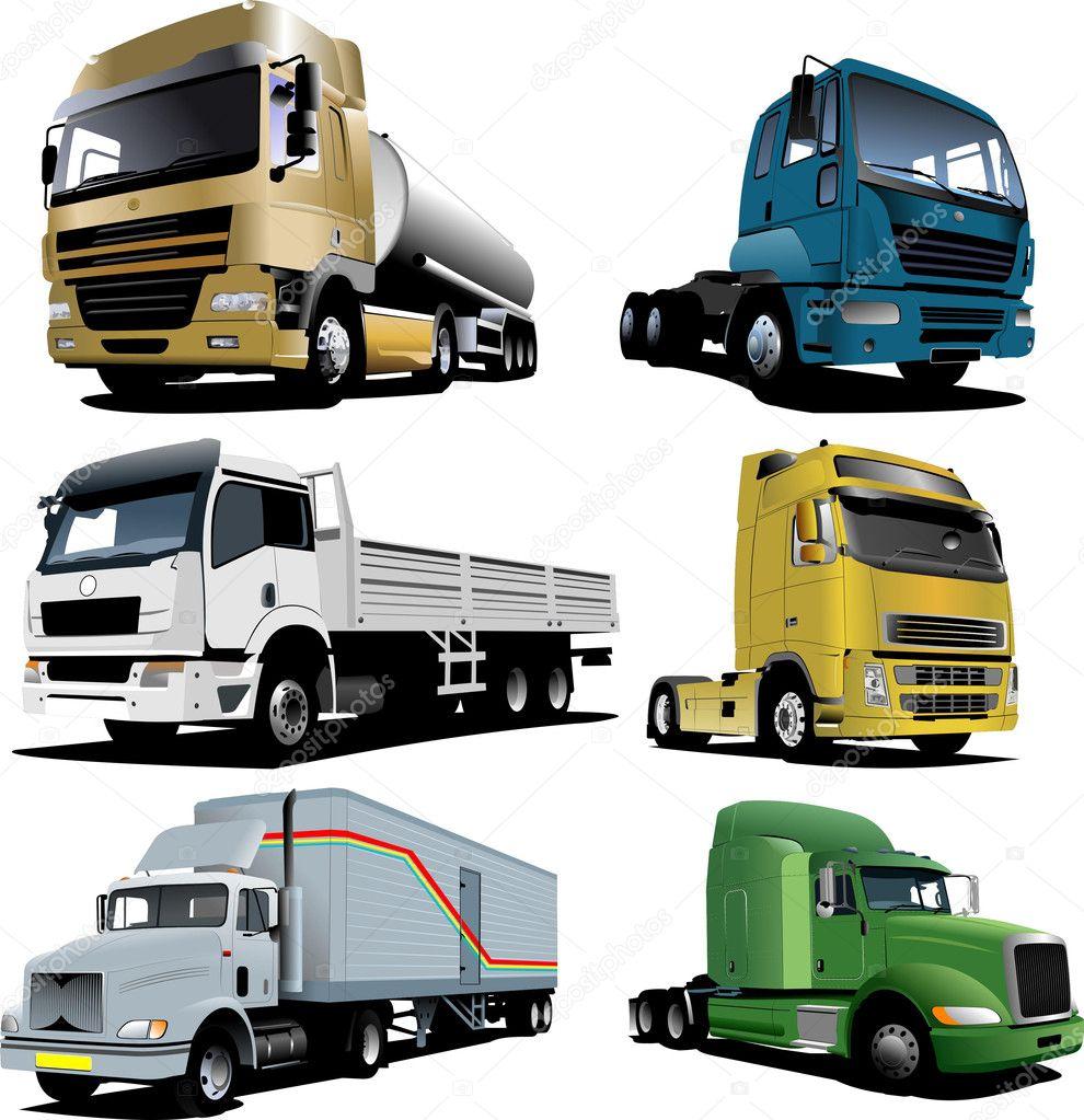 Six trucks. Vector illustration